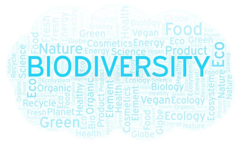 Nube de la palabra de la biodiversidad ilustración del vector