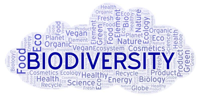 Nube de la palabra de la biodiversidad stock de ilustración