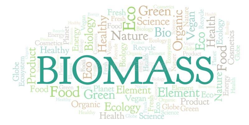 Nube de la palabra de la biomasa ilustración del vector