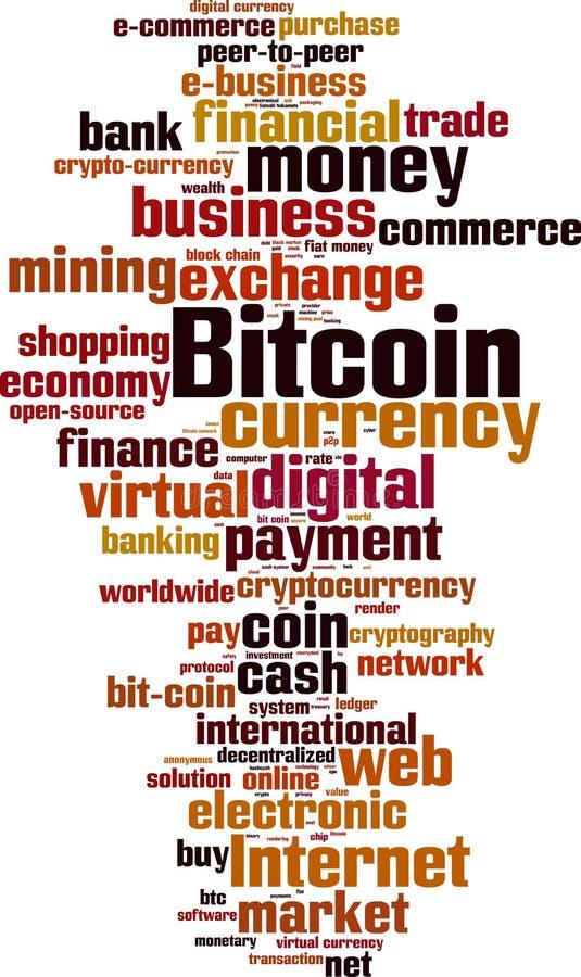Nube de la palabra de Bitcoin stock de ilustración