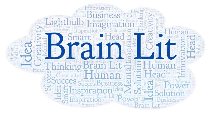 Nube de la palabra de Brain Lit stock de ilustración