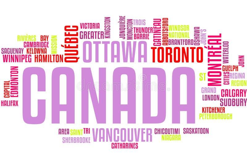 Nube de la palabra de Canadá stock de ilustración