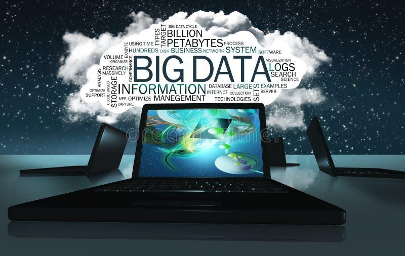 Nube de la palabra con términos de datos grandes ilustración del vector