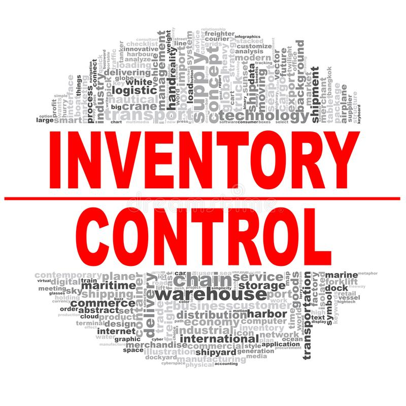 Nube de la palabra de control de inventario libre illustration