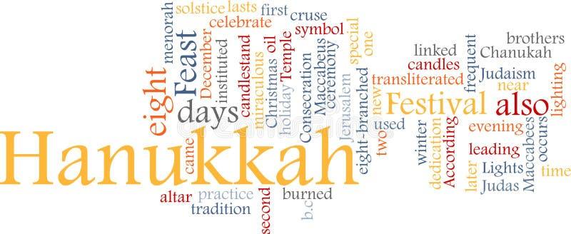 Nube de la palabra de Hanukkah ilustración del vector