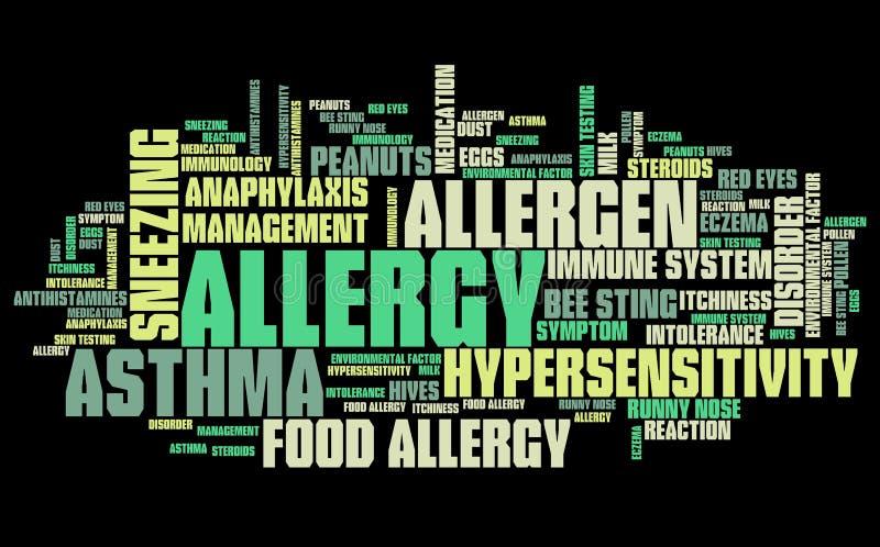 Nube de la palabra de la alergia stock de ilustración