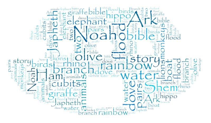 Nube de la palabra de la arca de Noah imagen de archivo libre de regalías