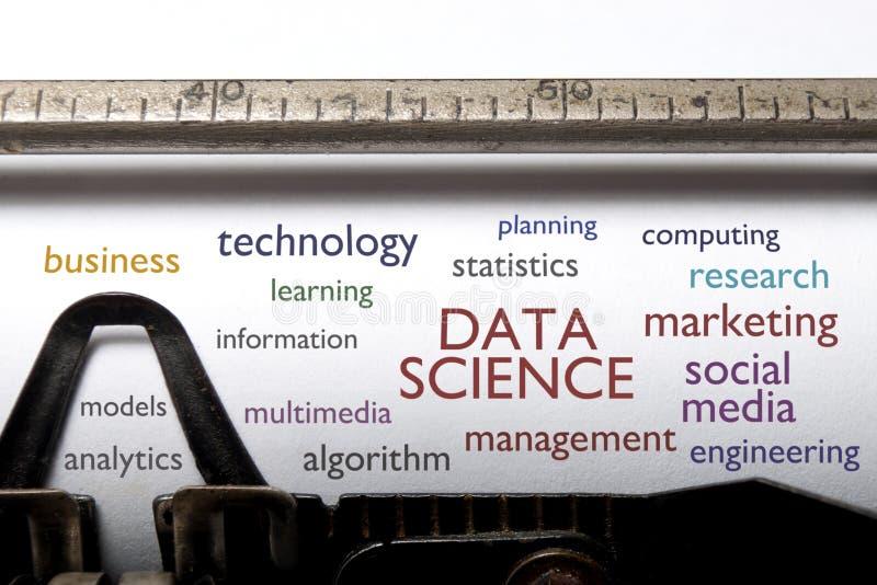 Nube de la palabra de la ciencia de los datos imagenes de archivo
