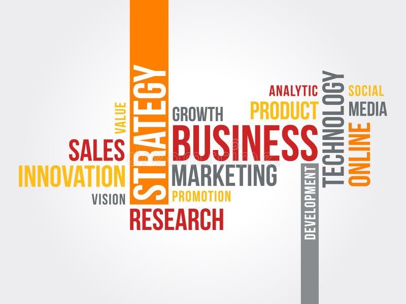 Nube de la palabra de la estrategia de marketing del negocio stock de ilustración