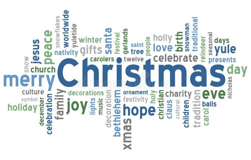 Nube de la palabra de la Navidad stock de ilustración