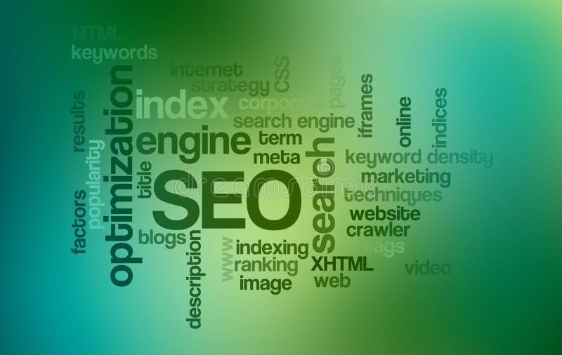 Nube de la palabra de la optimización del Search Engine de SEO stock de ilustración