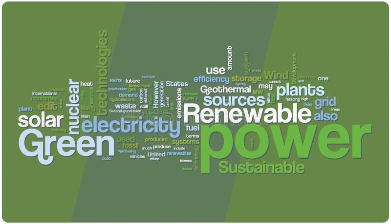 Nube de la palabra de la potencia verde stock de ilustración
