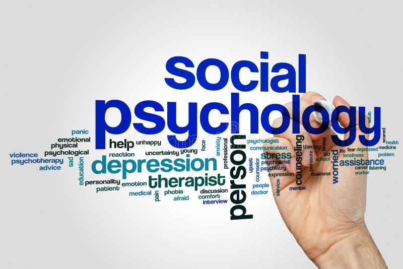 Nube de la palabra de la psicología social imagen de archivo libre de regalías