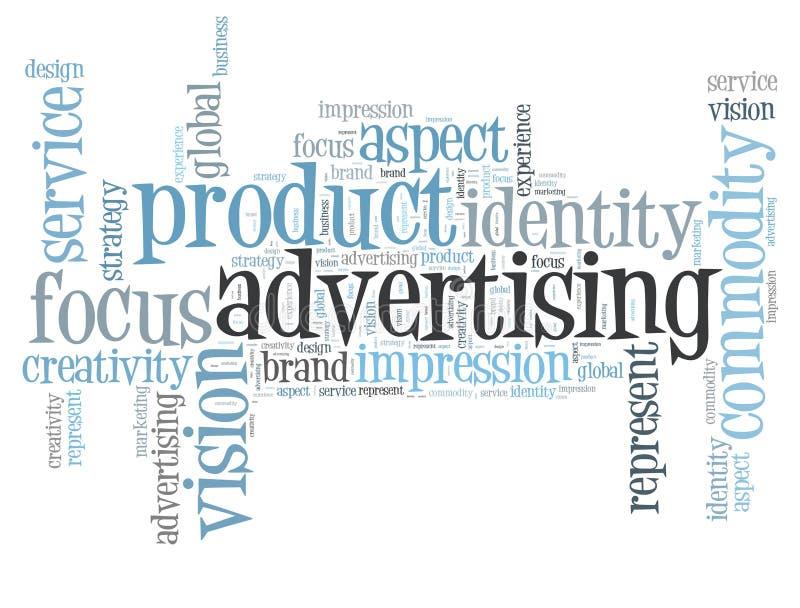 Nube de la palabra de la publicidad stock de ilustración