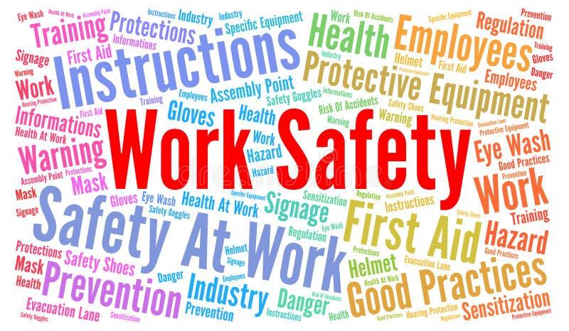 Nube de la palabra de la seguridad del trabajo stock de ilustración