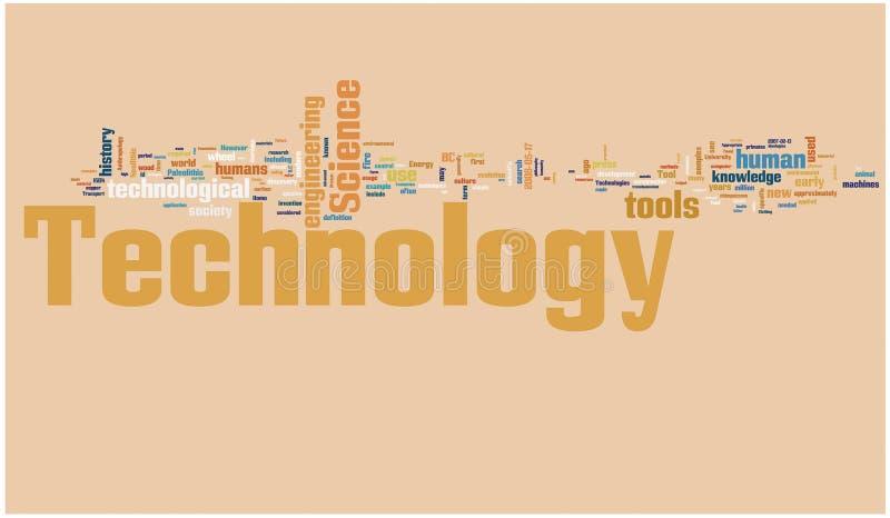 Nube de la palabra de la tecnología stock de ilustración