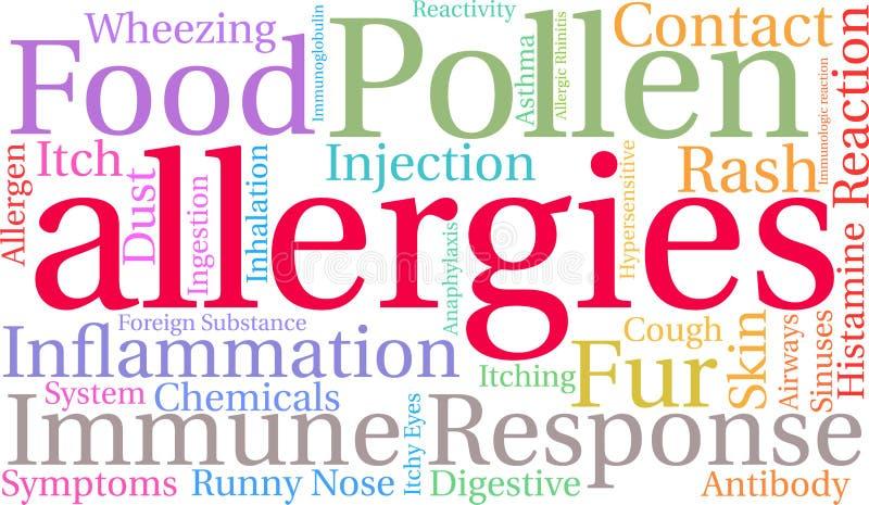 Nube de la palabra de las alergias foto de archivo libre de regalías