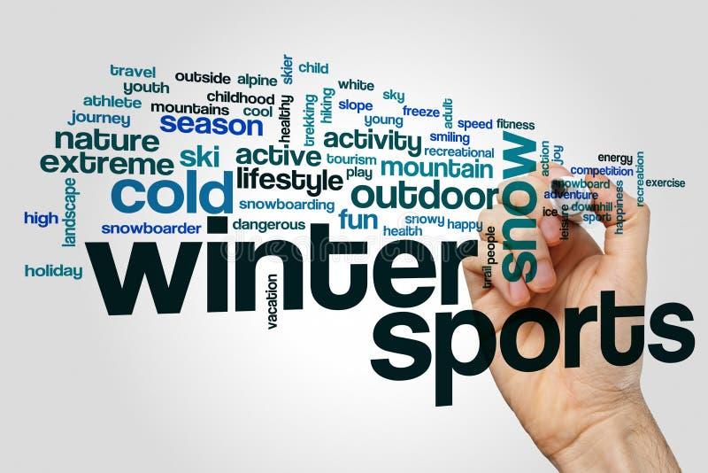 Nube de la palabra de los deportes de invierno foto de archivo libre de regalías