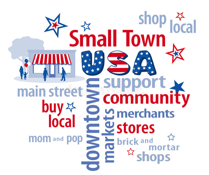 Nube de la palabra de los E.E.U.U. de la pequeña ciudad stock de ilustración