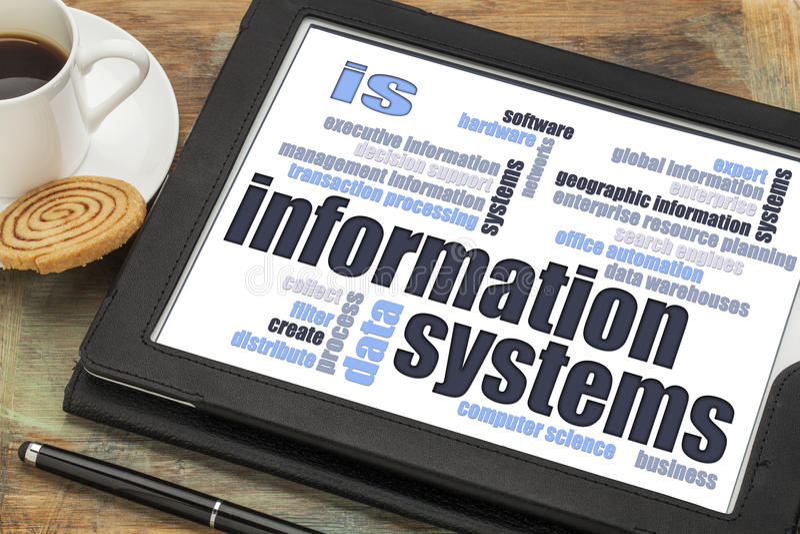 Nube de la palabra de los sistemas de información imagenes de archivo