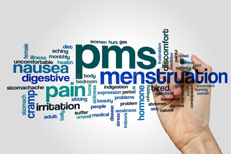Nube de la palabra de PMS foto de archivo libre de regalías