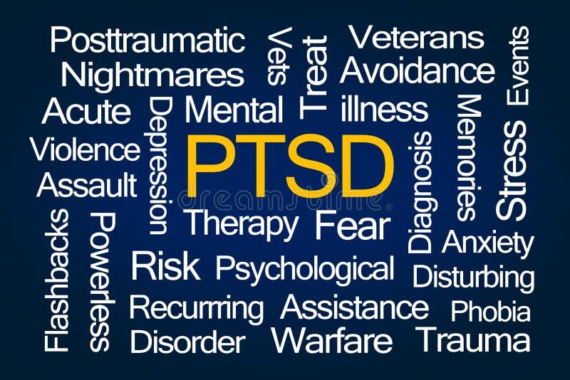 Nube de la palabra de PTSD ilustración del vector