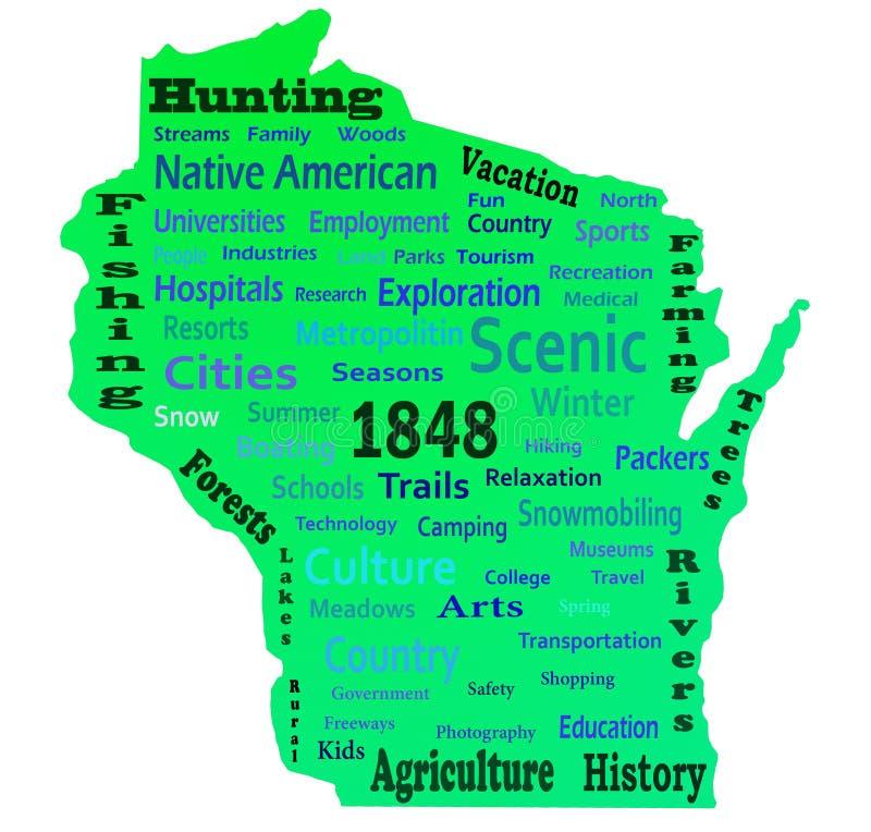 Nube de la palabra de Wisconsin foto de archivo libre de regalías