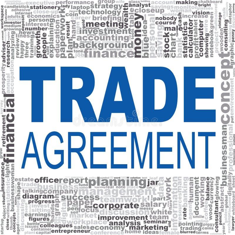 Nube de la palabra del acuerdo comercial ilustración del vector
