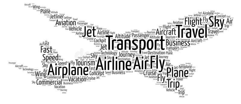 Nube de la palabra del aeroplano stock de ilustración