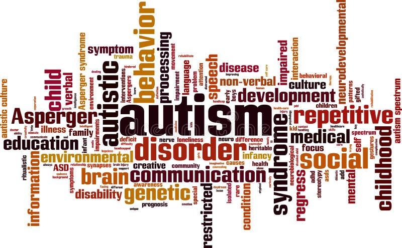 Nube de la palabra del autismo ilustración del vector