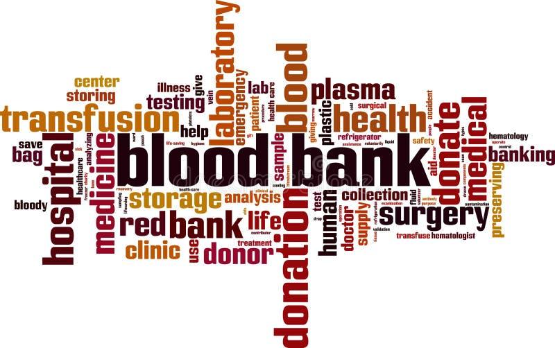 Nube de la palabra del banco de sangre stock de ilustración