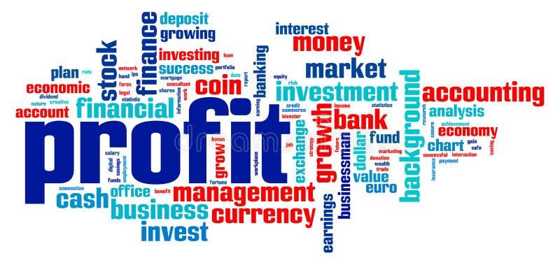 Nube de la palabra del beneficio stock de ilustración