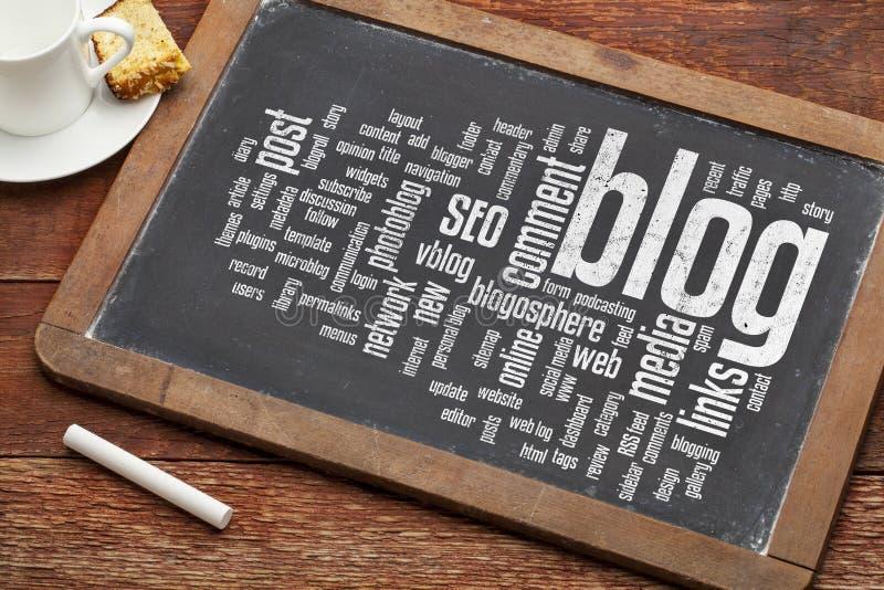 Nube de la palabra del blog en la pizarra fotos de archivo
