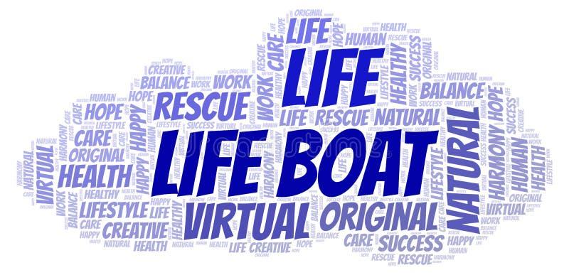 Nube de la palabra del bote salvavidas ilustración del vector