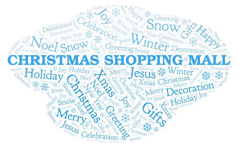 Nube de la palabra del centro comercial de la Navidad ilustración del vector