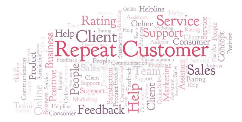Nube de la palabra del cliente repetido stock de ilustración