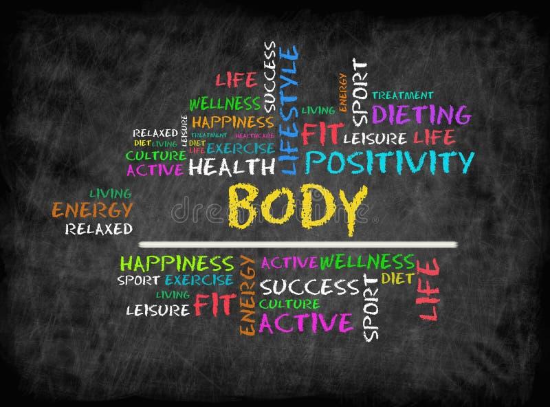 Nube de la palabra del cuerpo, aptitud, deporte, concepto de la salud en la pizarra imagen de archivo