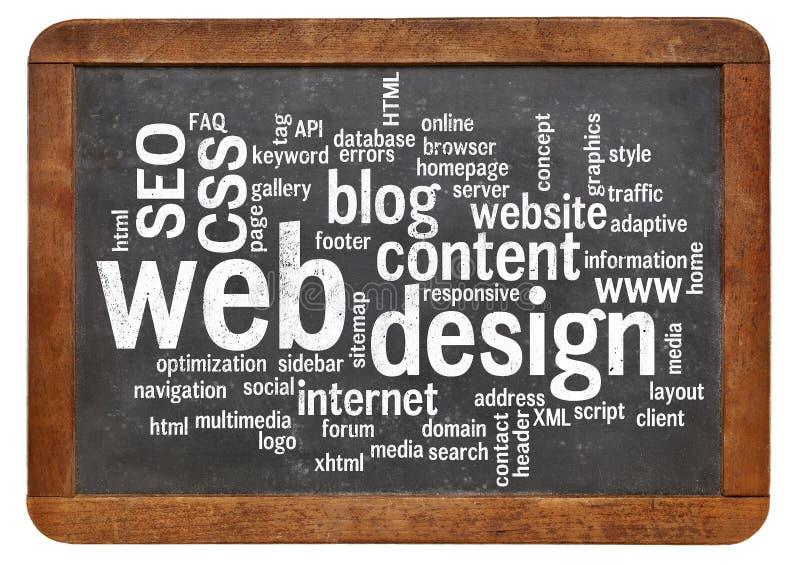 Nube de la palabra del diseño web en la pizarra foto de archivo libre de regalías