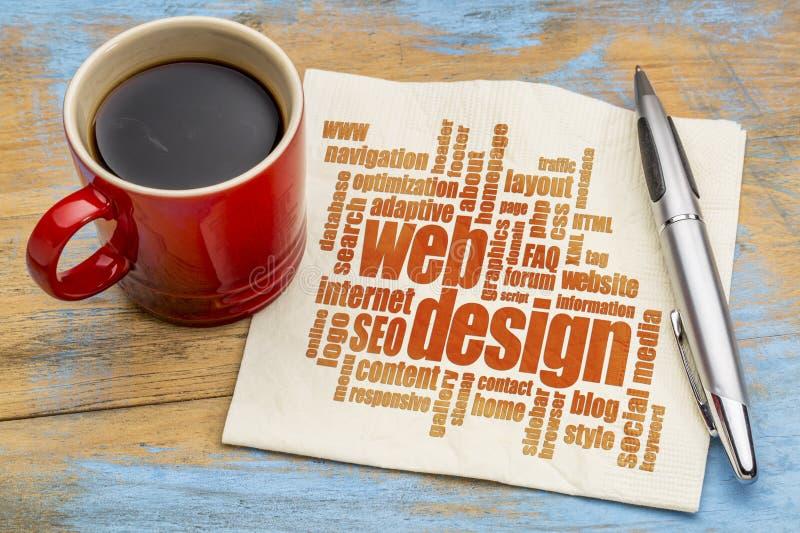 Nube de la palabra del diseño web en servilleta fotografía de archivo libre de regalías