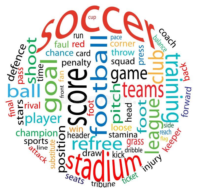 Nube de la palabra del fútbol fotografía de archivo