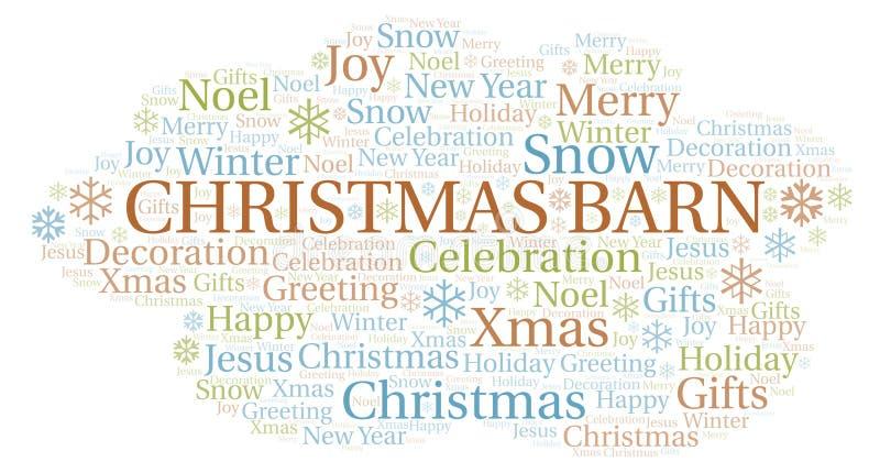 Nube de la palabra del granero de la Navidad stock de ilustración