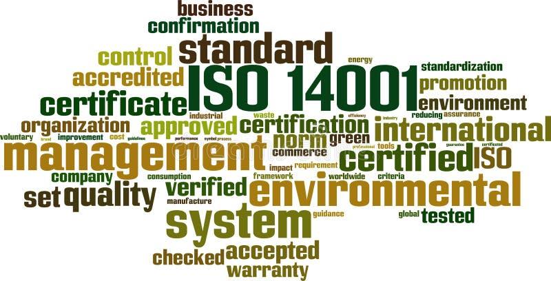 Nube de la palabra del ISO 14001 stock de ilustración