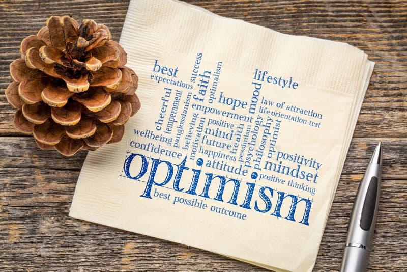 Nube de la palabra del optimismo en servilleta fotografía de archivo libre de regalías