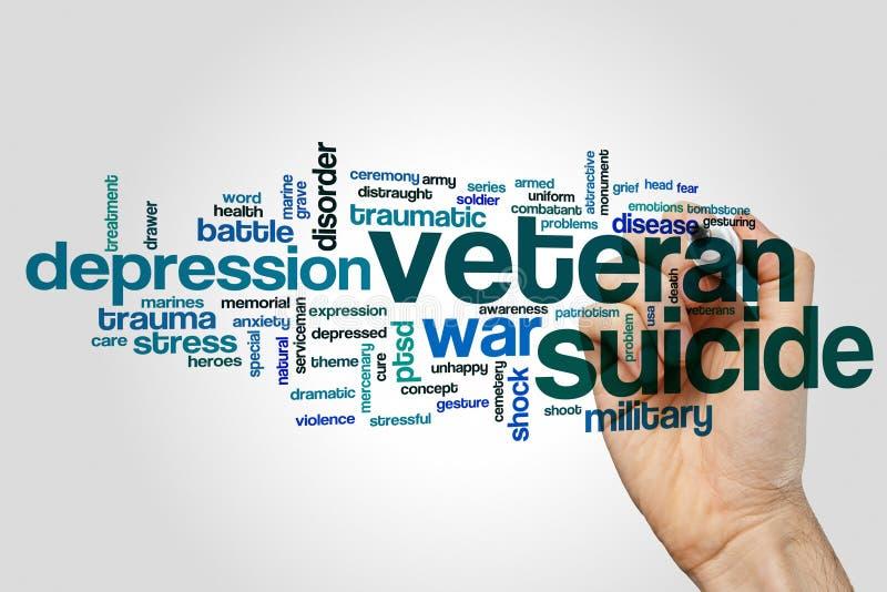 Nube de la palabra del suicidio del veterano foto de archivo