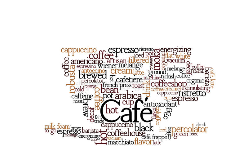 Nube de la palabra del tema del café ilustración del vector