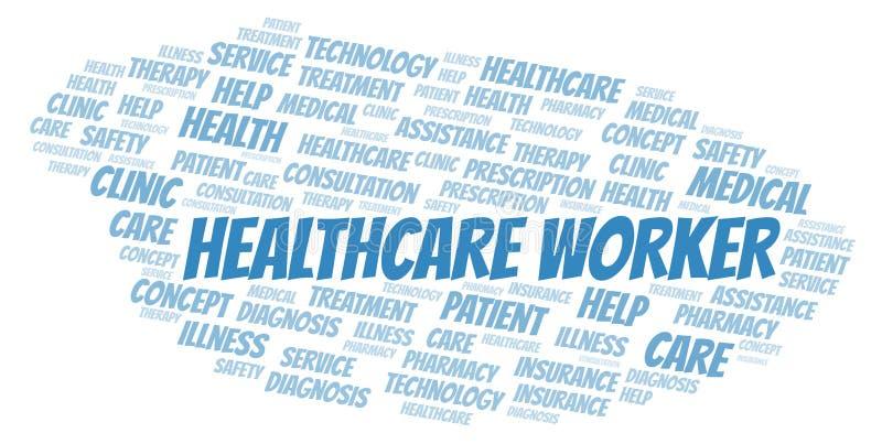 Nube de la palabra del trabajador de la atención sanitaria ilustración del vector