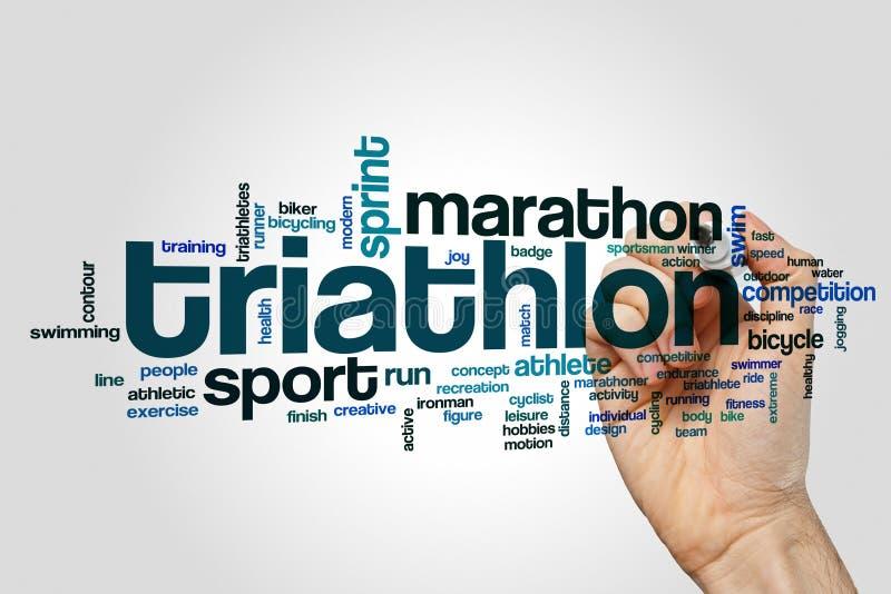 Nube de la palabra del Triathlon fotos de archivo libres de regalías