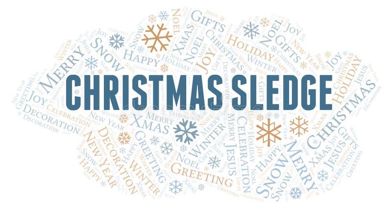 Nube de la palabra del trineo de la Navidad stock de ilustración