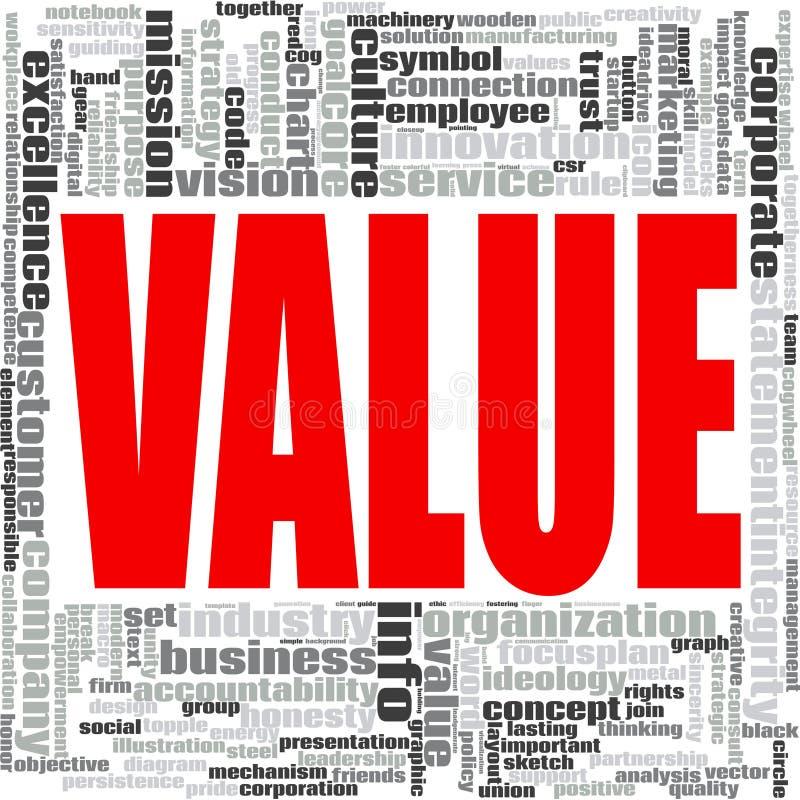 Nube de la palabra del valor stock de ilustración