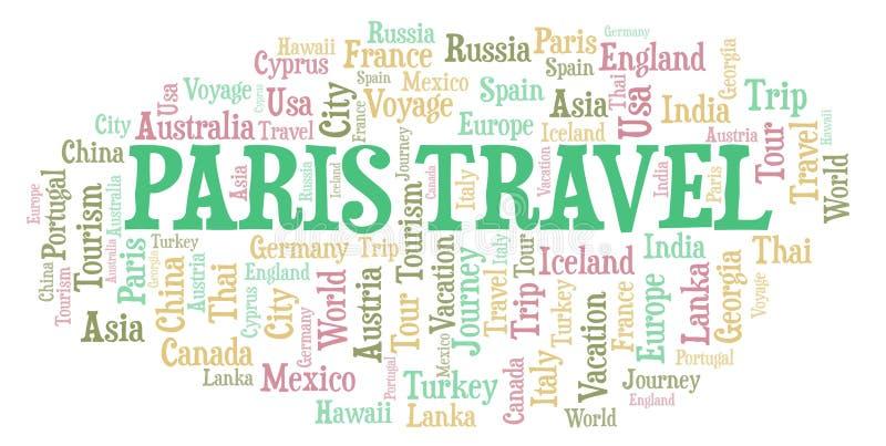 Nube de la palabra del viaje de París ilustración del vector